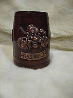 Кухоль пивний сувенірний дерев'яний з нержавіючою сталлю 0,75 л