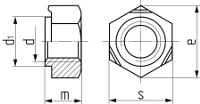 Описание: Гайка шестигранная приварная DIN 929. Чертёж