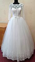 Нежное белое свадебное платье с кружевом и рукавами 3/4, размер 46