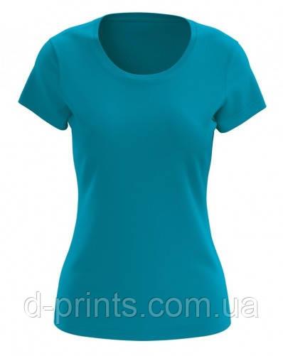 Футболка женская голубая 100% cotton
