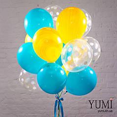 Букет для девушки из 15 ярких воздушных шариков с гелием