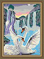 """Алмазна вишивка """"Лебеді біля водоспаду"""""""