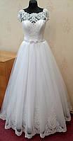 Шикарное белое свадебное платье с кружевом, размер 44-50
