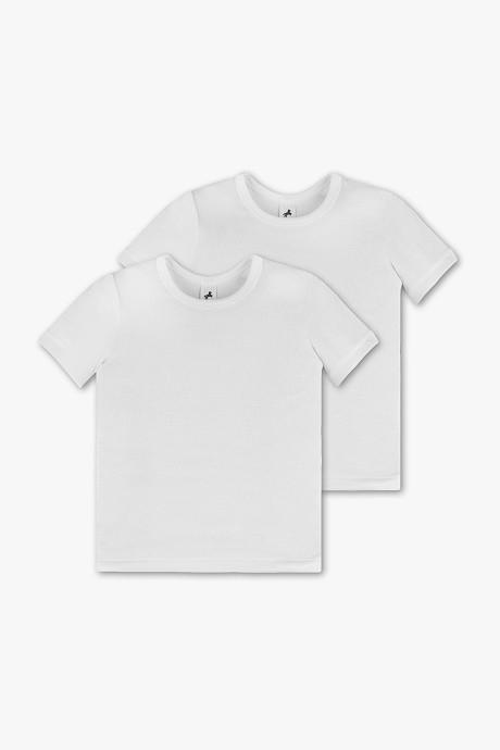 Белые однотонные футболки на мальчика C&A Германия Размер 110-116. Цена за набор