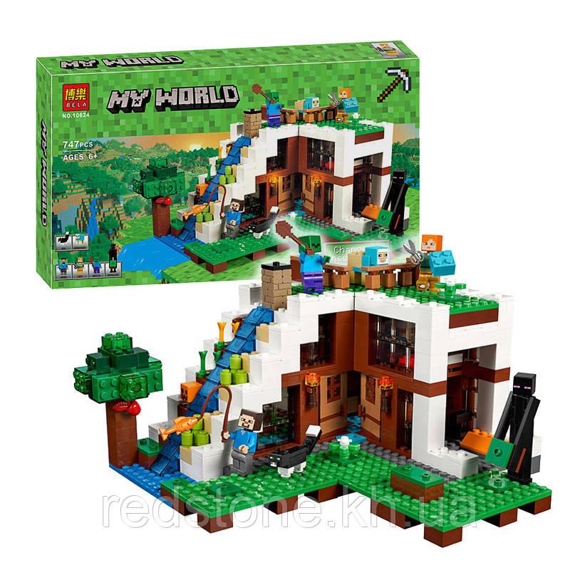 """Конструктор Майнкрафт Bela 10624 """"База на водопаде"""" ( Lego Майнкрафт Minecraft 21134) 747 деталей"""