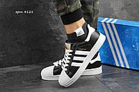 Кроссовки Adidas Superstar черные с белым в фирменной коробке (Реплика ААА+), фото 1
