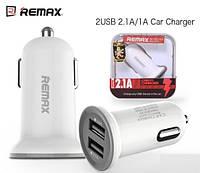 Автомобильное зарядное устройство (АЗУ) REMAX mini на 2 USB (Белая)