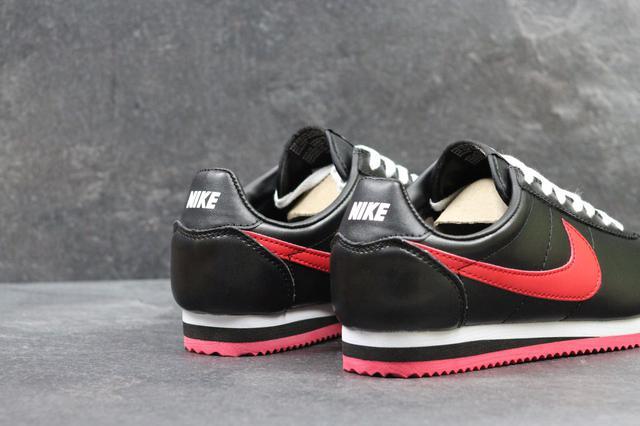 a587d4445a53b Кроссовки женские Nike Cortez осенние спортивные для бега (черные с  красным), ТОП-реплика