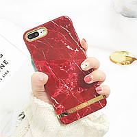 Чехол накладка на iPhone 6/6s из пластика под мрамор, красный с золотом