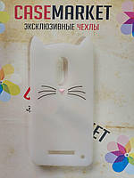 Объемный 3D силиконовый чехол для Xiaomi Redmi Note 4x Усатый кот белый