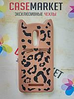 Объемный 3D силиконовый чехол для Xiaomi Redmi Note 4x Леопардовый кот