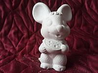 Гіпсова фігурка для розмальовки. Гипсовая фигурка для раскраски. Мышка с сыром 10 см.