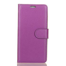 Чехол книжка для Doogee BL7000 боковой с отсеком для визиток и отверстием под динамик, фиолетовый