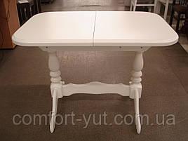 Стіл Аврора обідній розкладний дерев'яний 101(+32)*69 білий