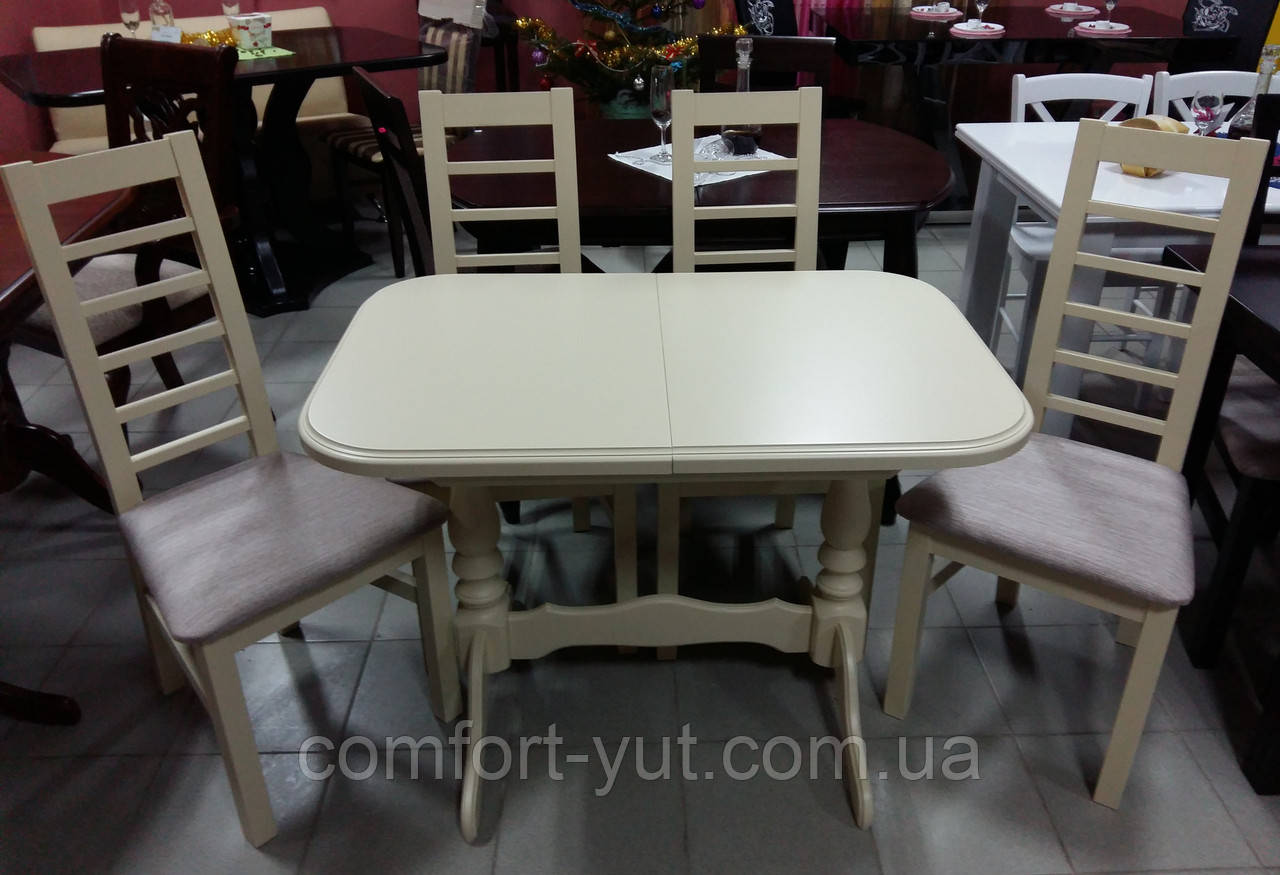Стол Аврора обеденный раскладной деревянный 101(+35)*69 ваниль