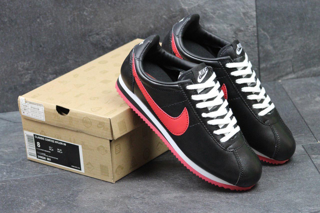 Кроссовки женские Nike Cortez  осенние спортивные для бега (черные с красным), ТОП-реплика
