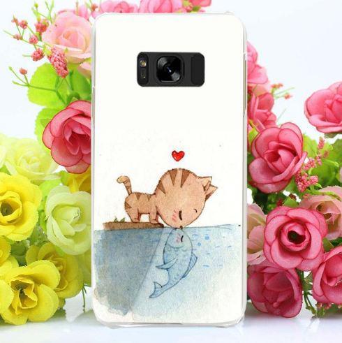 Бампер оригинальный чехол с принтом для Samsung Galaxy S8 Plus G955 Поцелуй кота