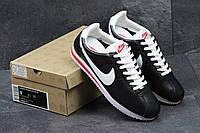 Кроссовки женские Nike Cortez (черные с белым), ТОП-реплика
