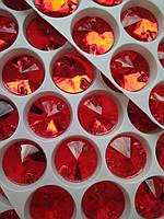 Стразы пришивные Риволи (круг) d14 мм Lt.Siam (красный), стекло