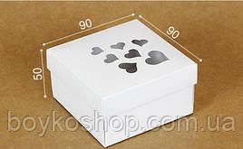 """Коробка """"Белая с сердцами"""" 90*90*50"""