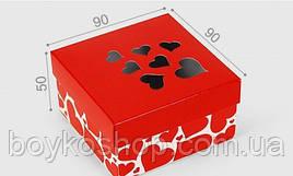 """Коробка """"Красная с сердцами"""" 90*90*50"""