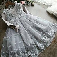 """Платье для девочки """"Принцесса"""" серое"""