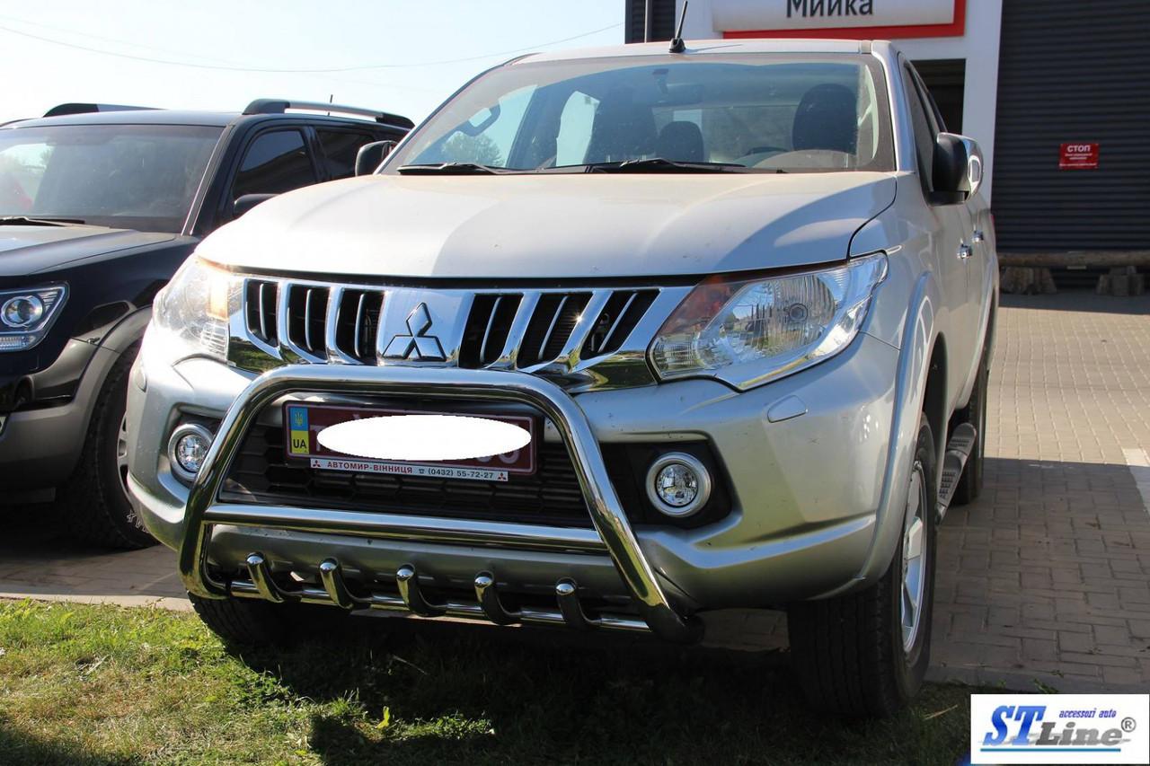 Кенгурятник на автомобиль Mitsubishi L200 2015+ гг. (нерж)