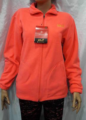 Кофта женская флисовая спортивная  Jack Wolfskin коралловая, фото 2