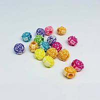 Пластиковые елементи для декупажа. Бусинка цветочек. 11мм