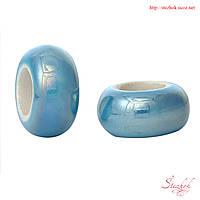 Рондель керамическая бусина 13х6мм в стиле Пандора для рукоделия цвет голубой