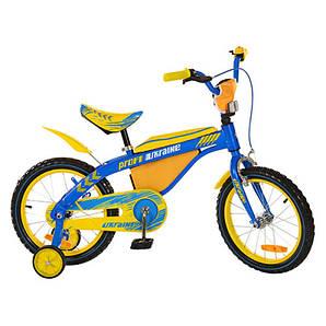 """Детский велосипед Profi Ukraine 16"""" - дополнительные страховочные колеса, звонок"""