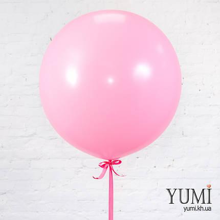 Милый воздушный нежно-розовый шар-гигант с гелием для девочки, фото 2