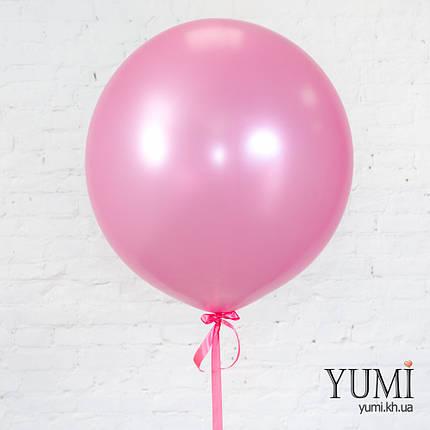 Красивый воздушный шар-гигант розовый металлик для девушки, фото 2