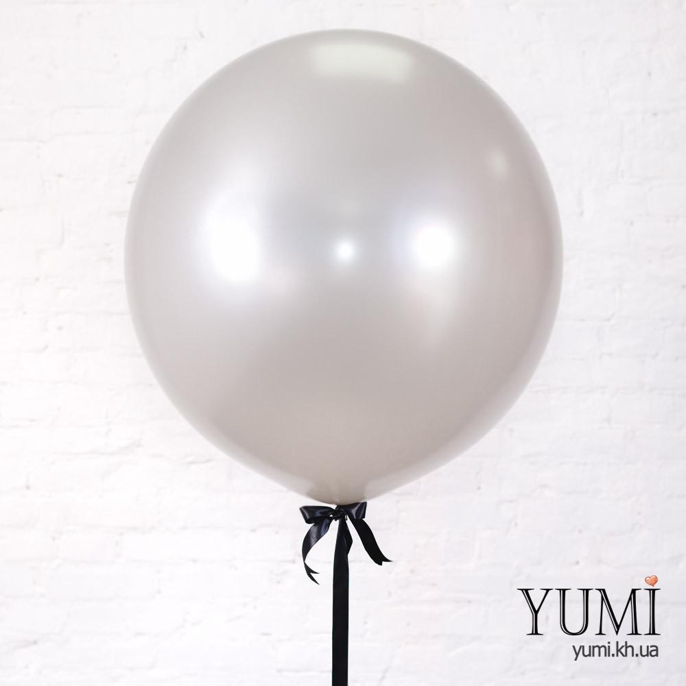 Огромный шар-гигант серебряного цвета с гелием