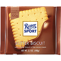 Шоколад Ritter Sport Butter biscuit Молочний з сливочным печеньем 100г (1уп/11шт)