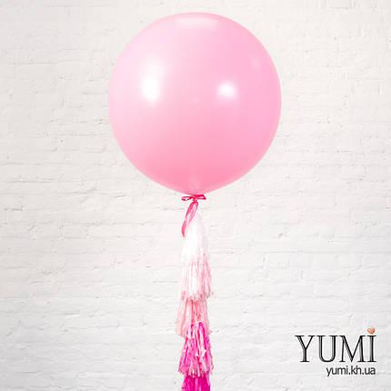 Нежжный розовый шар-гигант с гирляндой для мамы, фото 2
