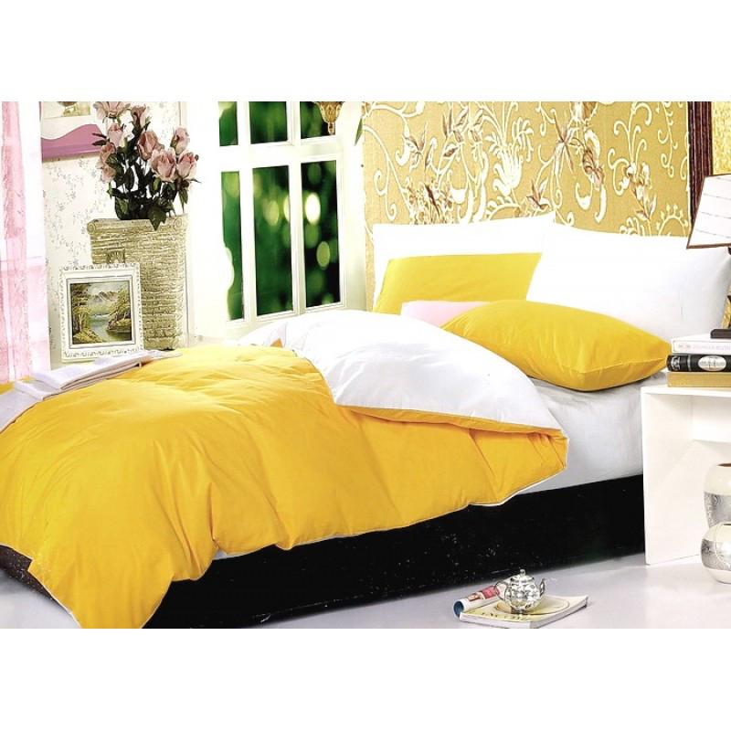 Постельное белье Постельное белье ранфорс микс Желтый + Белоснежный ТМ Царский дом  (Семейный)