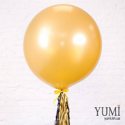 Шар-гигант золотого цвета с гирляндой тассел для папы , фото 2