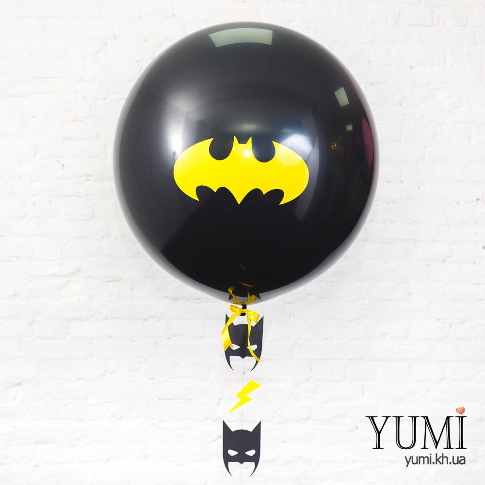Стильный тематический шар-гигант черного цвета с рисунком и с гирляндой