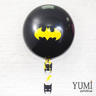 Стильный тематический шар-гигант черного цвета с рисунком и с гирляндой, фото 2