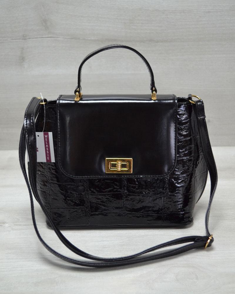e66bdb81f45b Молодежная женская сумка-клатч черный лаковый крокодил - Интернет-магазин  сумок рюкзаков Kupi-