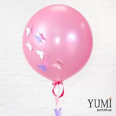 Шар-гигант розовый металлик + декор: гирлянда объемные бабочки и 6 бабочек на шар