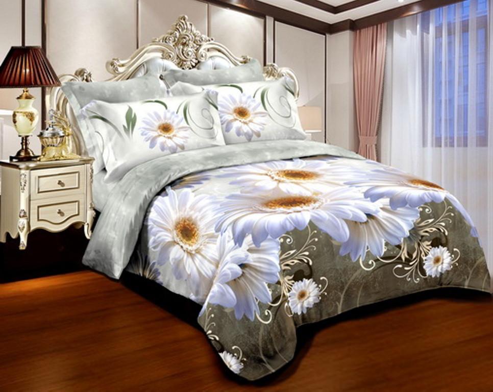 Двуспальный комплект постельного белья 180*220 из ранфорса Ромашковое бароко