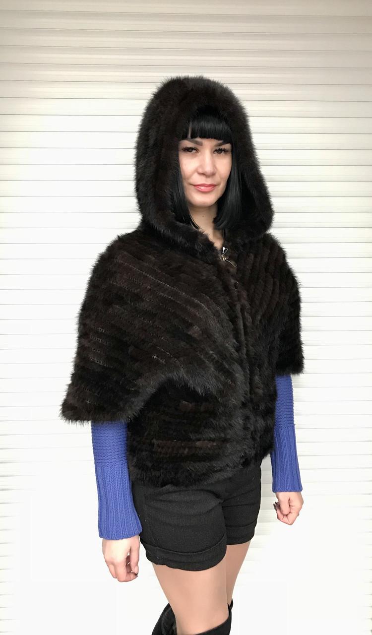 Шубка женская из вязаной норки с капюшоном 3/4 рукав коричневая