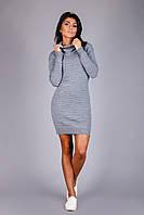 Теплое вязаное платье из полушерстяной пряжи цвета серый меланж, фото 1