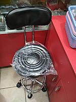 Парикмахерский стул со спинкой и гидравликой, чёрный