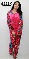 Махровая теплая пижама со стразами,малиновая