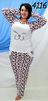Махровая теплая пижама со стразами,леопардовая