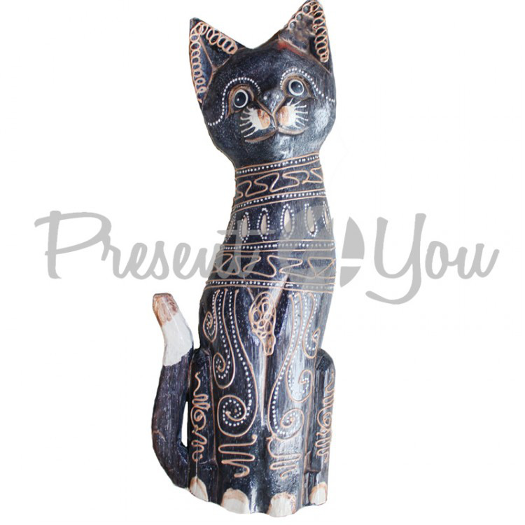 Деревянная статуэтка кот «Магнолия» , h-50 см