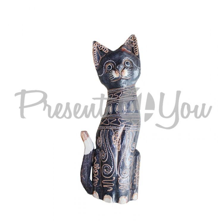 Деревянная статуэтка кот «Магнолия» , h-30 см